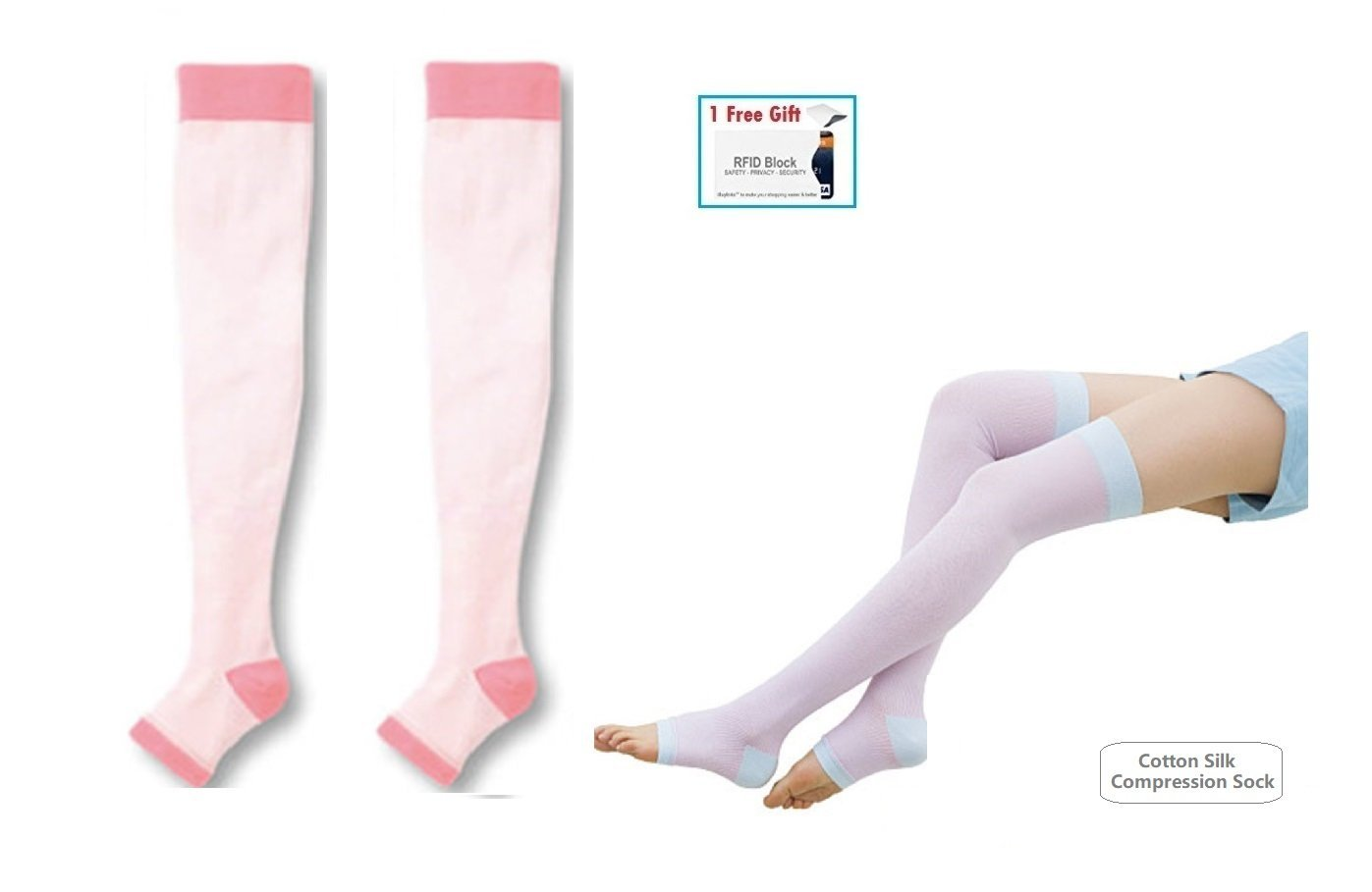 453672921 Yoga Sleep Therapeutic Thigh-high Compression Cotton/Silk Like Toeless Sock,  Slimming Legs
