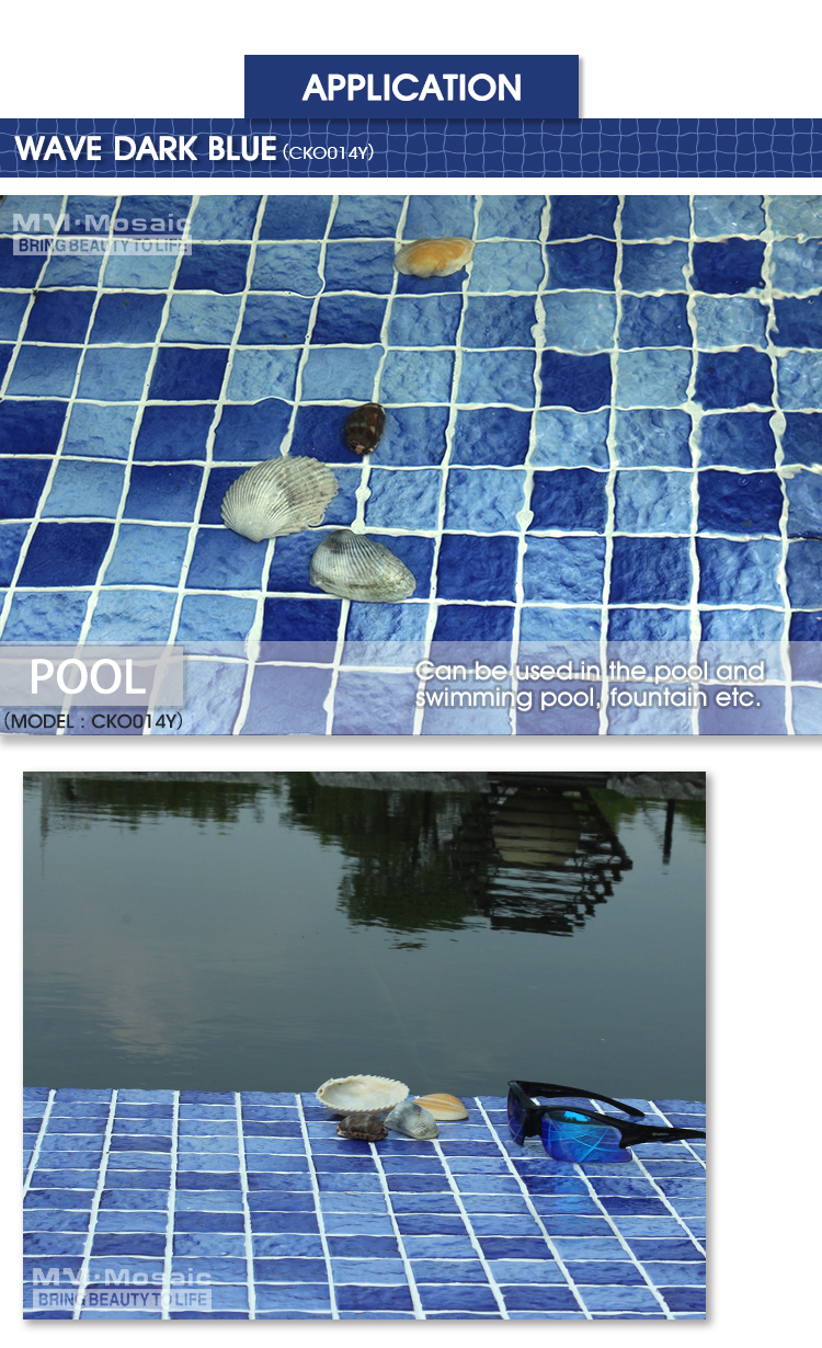 Wholesale price wave surface 48X48mm blue ceramic mosaic swimming ...