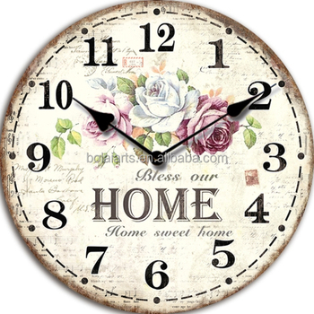 Most Popular Oversized Sweet Home Decor Bless Decorative Wall Clock For Hotel