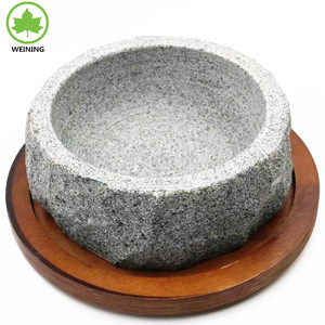 Stone cookware set bowl with wooden plate