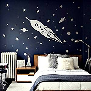Designer Playground Space Rocket With A Handful Of Stars Comet Planet And Moon Vinyl & Cheap Rocket Wall Decal find Rocket Wall Decal deals on line at ...