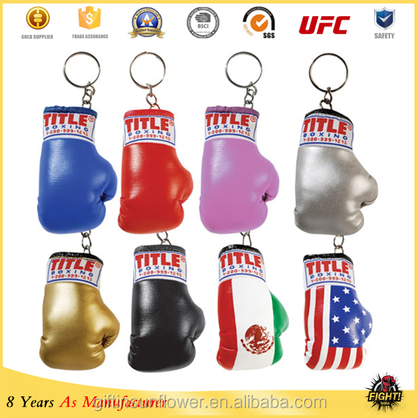 Mini red boxing glove pu keyrings,cutom boxing glove keychains key rings