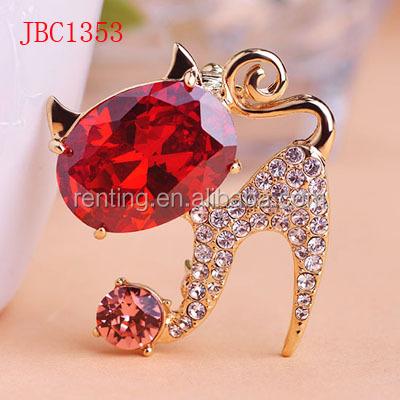 Hot Sale Fashion Simple Alloy Diamond Cat Brooches