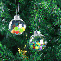 Custom Wholesale Hot Sale Transparent Christmas Decoration Ball Crystal Ball Plastic Gift Christmas Ball