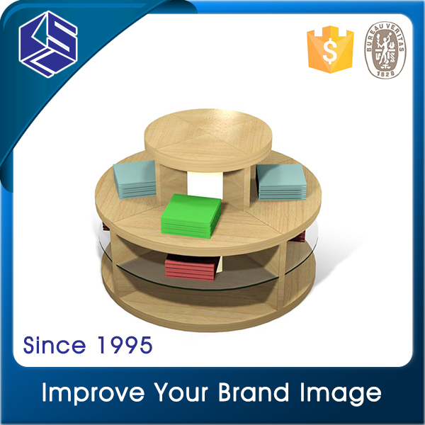 Modern retail clothing store furniture wood round display tables