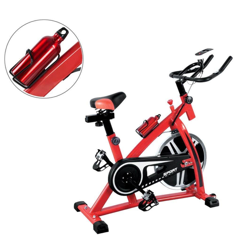 Globe House Products GHP 330-Lbs Capacity Black & Red LED Display Indoor Exercise Bike with 33-Lbs Flywheel