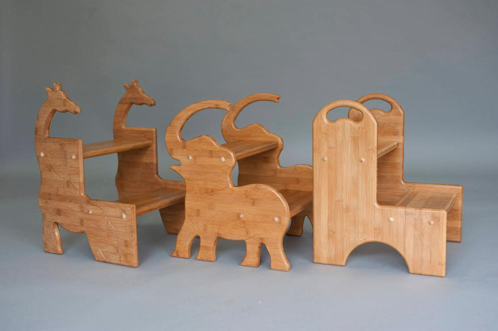 Bamboo bagno sgabello elefante per i bambini in cucina