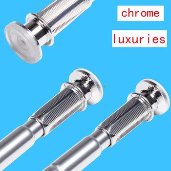 Chrome Aluminum Straight Shower Curtain Rod Telescopic Pole Extendable Rod  Curtain Rail Towel Rai Closet Rod