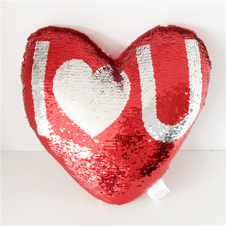 Wholesale Valentine day gift custom heart shape sequin pillow