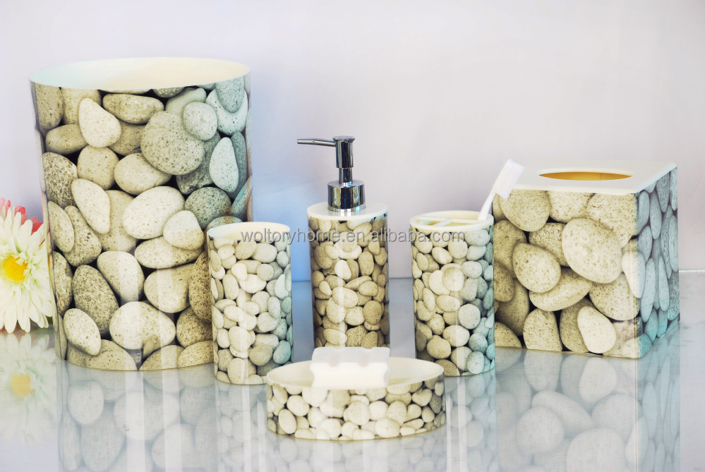 Hot Sale Made In China Real Stone Printed Plastic Bathroom Accessories Set