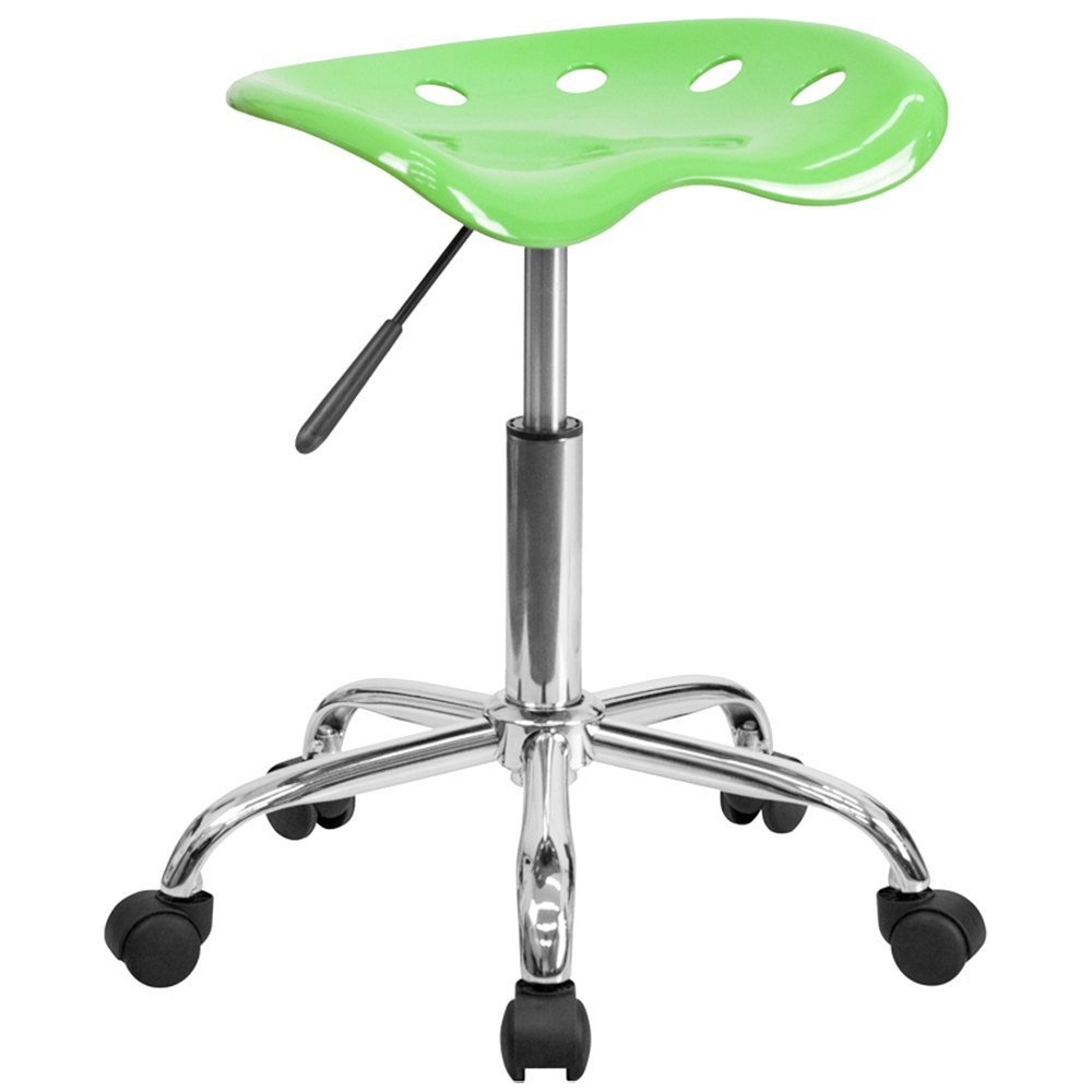 Apple Green Office Stool with Tractor Seat and Chrome Frame
