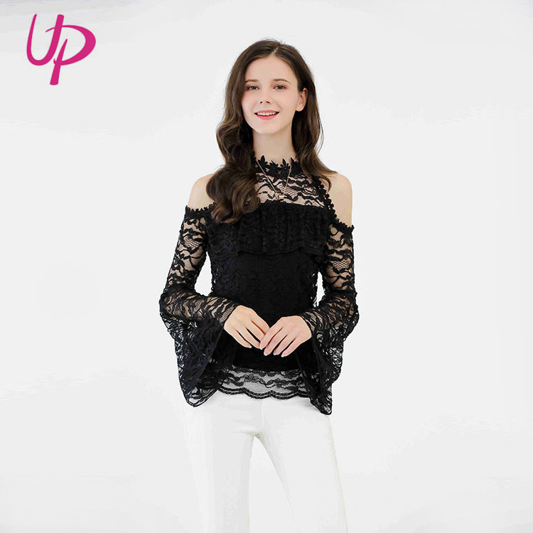 0b20355e14f377 2019 Spring Trendy Cold Shoulder Lace Long Sleeve Lady Blouse & Top ...
