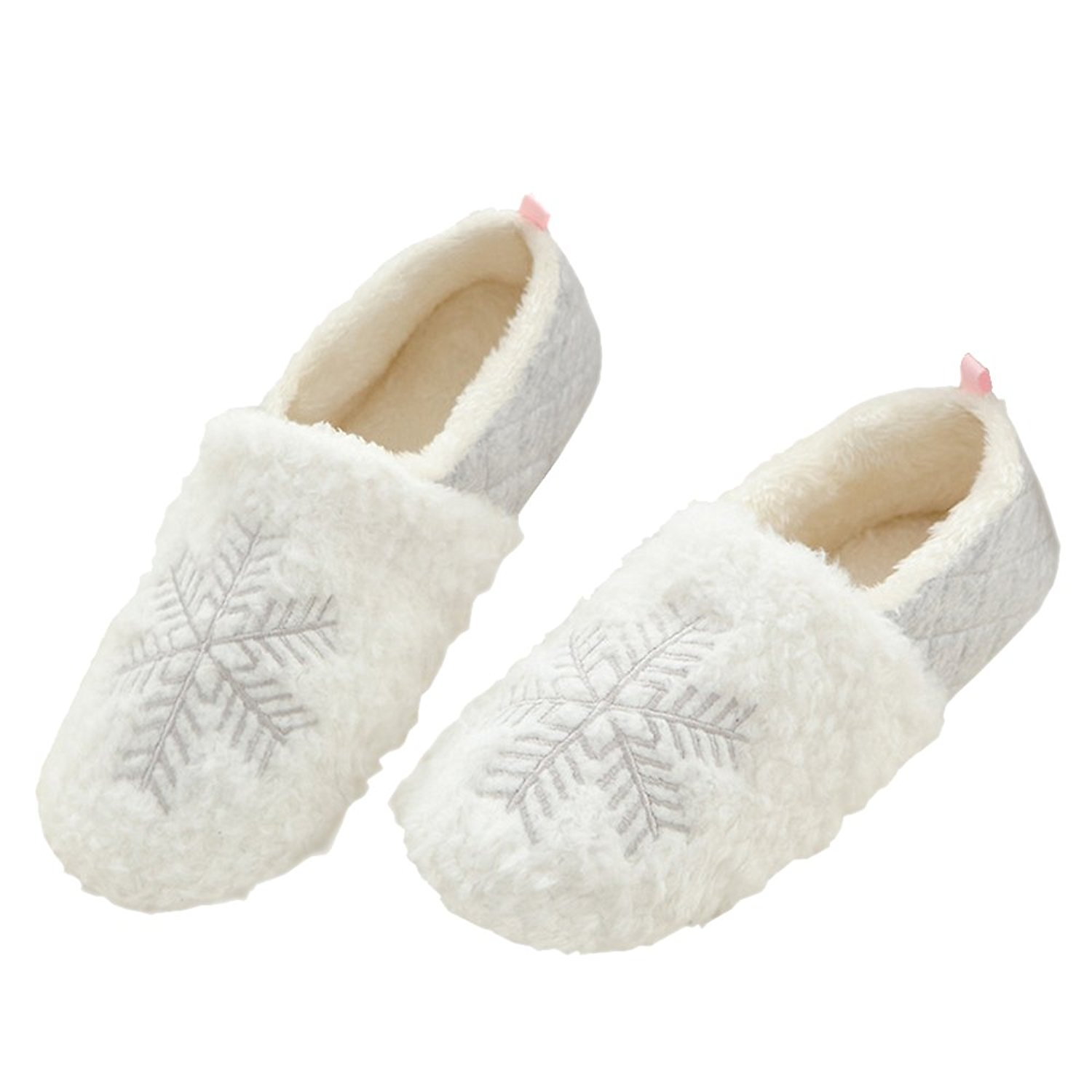 4bfc17a9560 Get Quotations · Rojeam Ladies Slippers Snowflake Slippers Womens House  Indoor Autumn Winter Ladies Comfortable Slip On Memory Foam