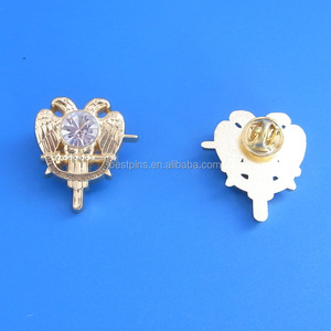 Custom souvenirs 3D zinc alloy double head eagle masonic badge pin  butterfly accessory lapel pin brooches