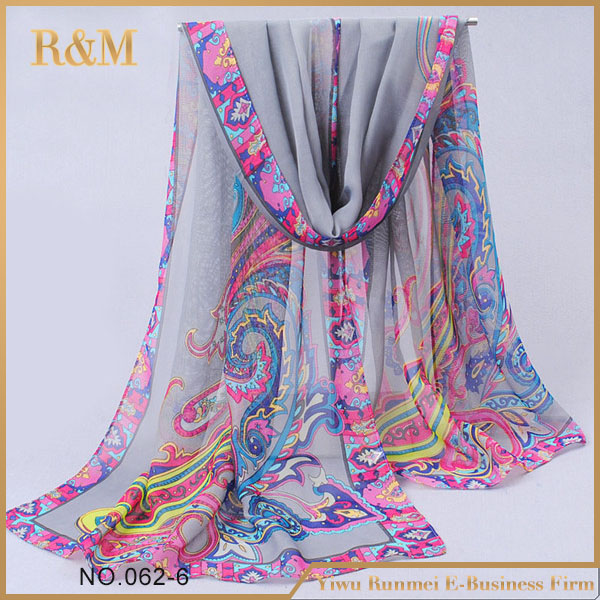 New listing Digital print custom design silk scarf popular shawl