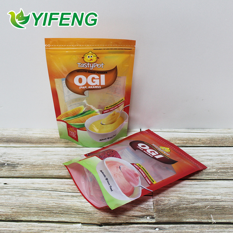 Stand Up Pouch Corn Flour Bags Plastic Custom Maize Gluten Meal/corn Meal/maize Packaging With Window Digital Printed