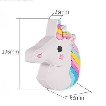 Wholesale Free Sample Mini Mobile Charger Cartoon EMOJI Unicorn Power Bank 2600mAh
