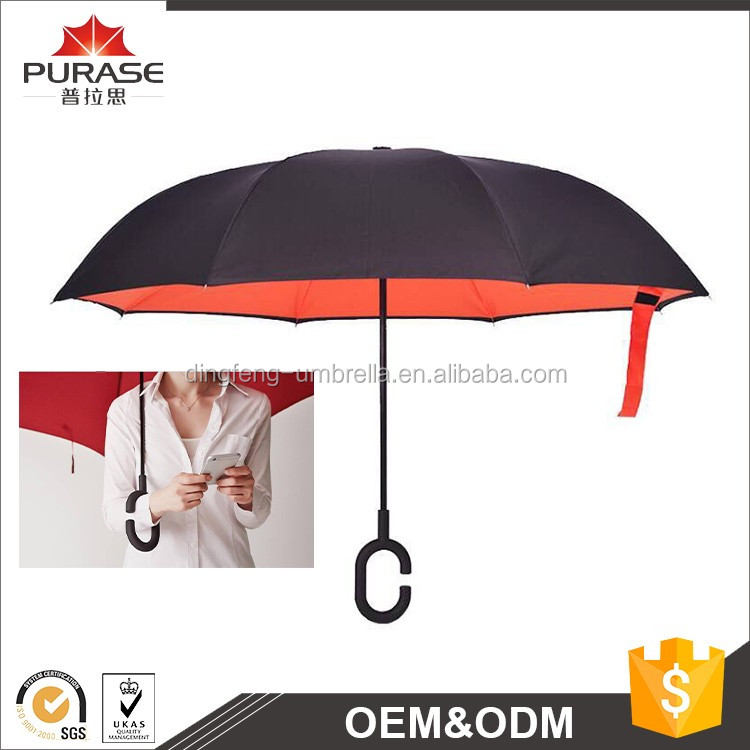 Reverse auto Open Upside Down inverted umbrella with double layer