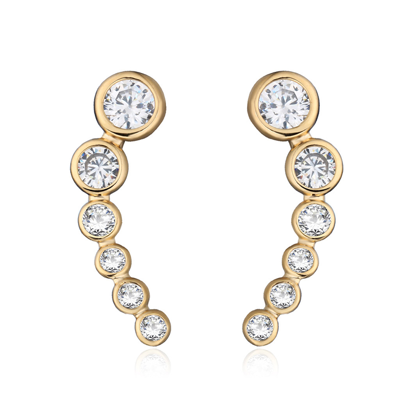 Gold and platinum zircon gemstone earrings 2-6942-4250