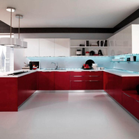 2019 Vermont Complete Kitchen Set High Gloss Red Lacquer Cabinets