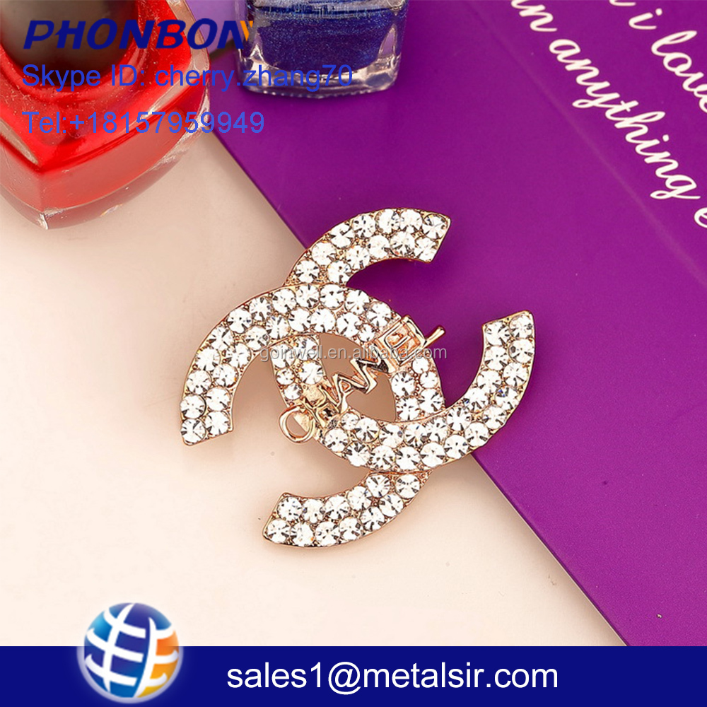 fashion jewelry charm Letter diamond brooch pin channel L V brooch
