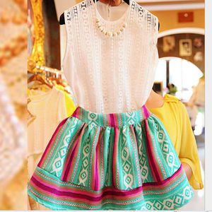 D22551Q 2014 NEW DESIGNS FASHION THREE-PIECE LACE PRINTED CASUAL WOMEN SKIRT SUITS