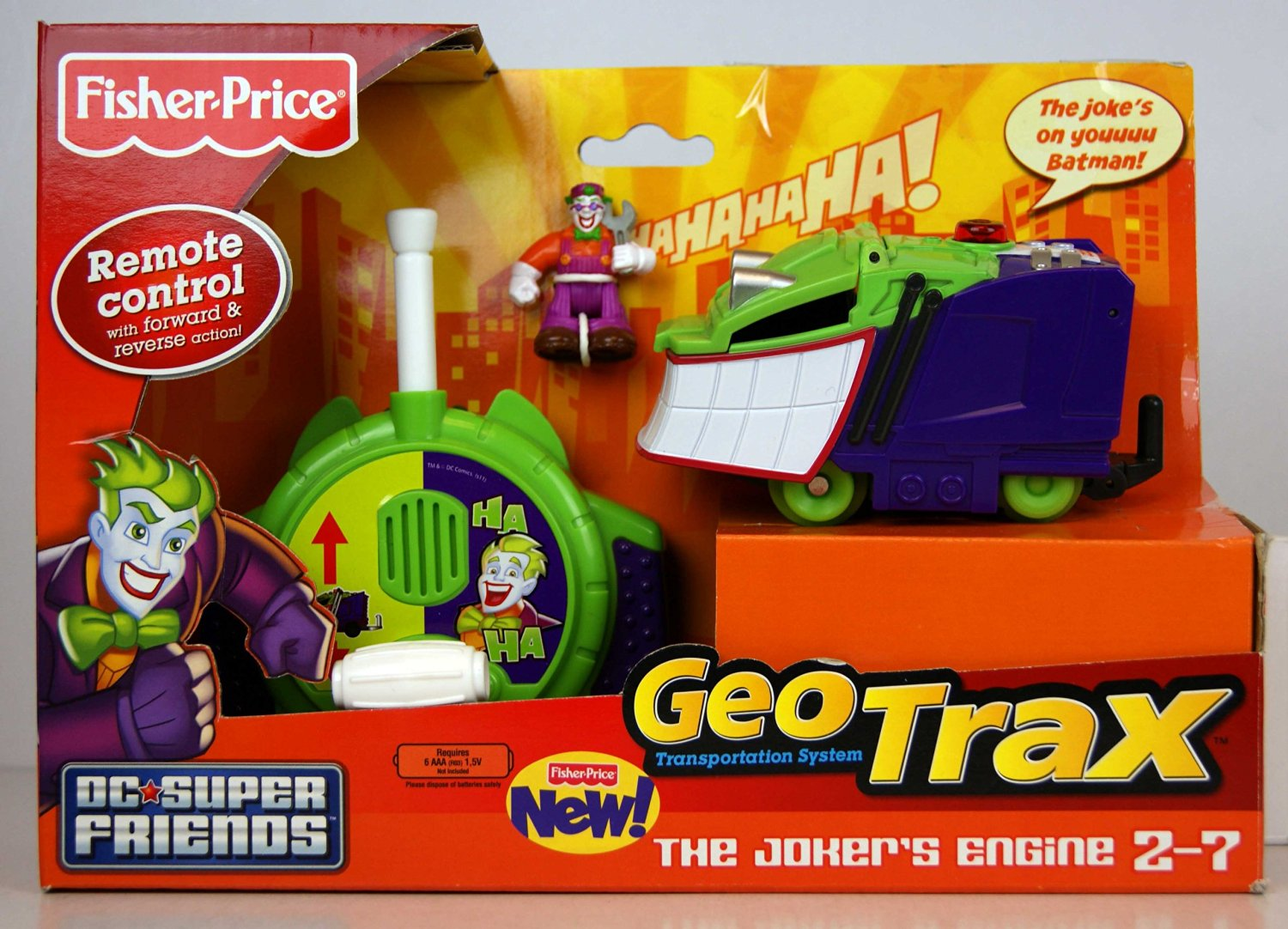 Fisher-Price GeoTrax DC Super Friends Turbo Remote Control Vehicle - The Jokers Engine