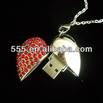 Beautiful gift Jewelry heart shape usb pen drive, free shipping&accept escrow