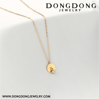 042 new design gold plated stainless steel round shape engraving charm necklace pendant for wedding
