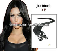 Wholesales!!! high quality Micro Ring-X hair extensions jet black silky straight 100%Human Remy Hair