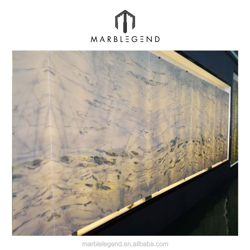Russia creative style saloon background wall design white onyx stone price