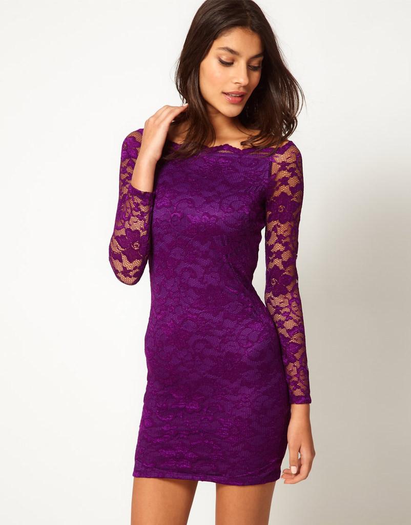 Wholesale Trendy women plus size long sleeve style lace dress ...