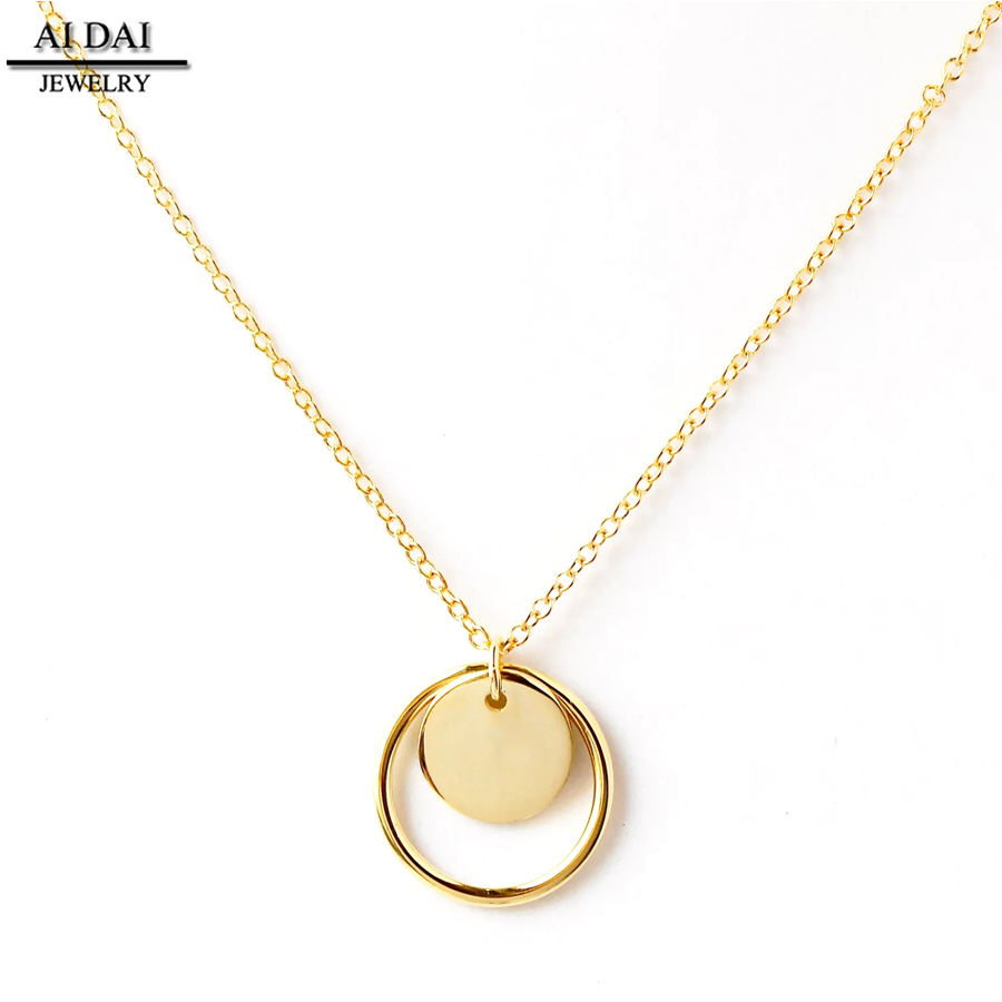 Stainless steel plated gold Minimalist Circle Round Pendant Necklace for Women's Wedding Party Jewelry