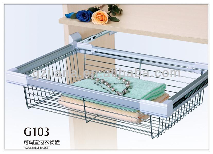 China Cabinet Basket Storage Sliding Wire Basket For Wardrobe - Buy ...