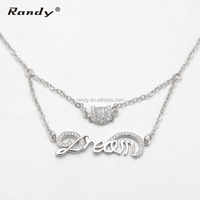 Fashion Necklace Layers Dream Letter With Cat Pendant Necklace Gift