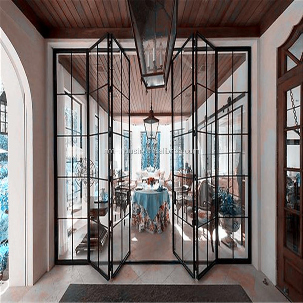Nueva Casa Moderna Acero Puerta Bi-plegable Hierro Forjado
