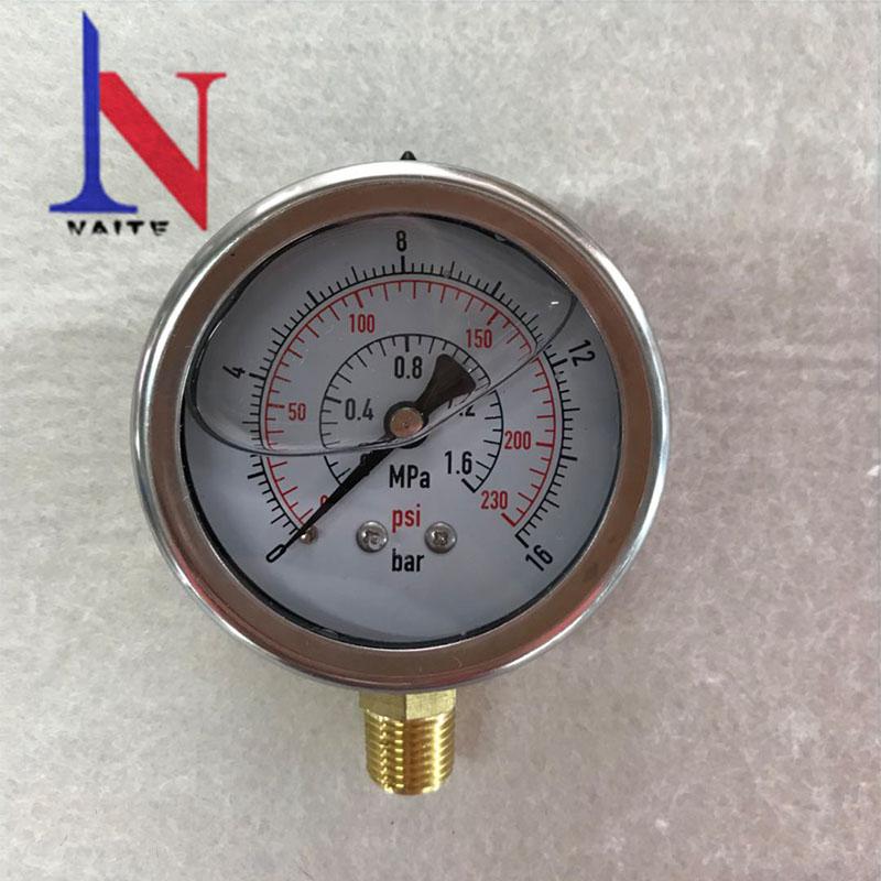 Manómetro de entrada trasera hidráulico 100 mm 0-100 Psi