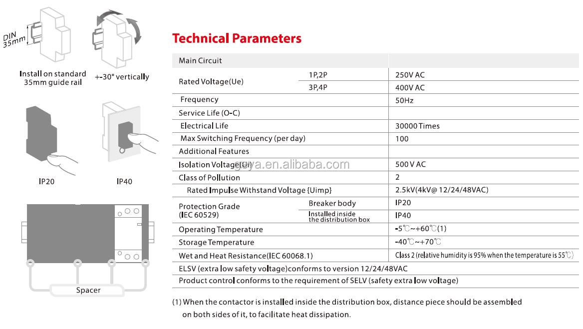 Contactors GYHC 2P 63A 2NC 220V 50Hz Manual Household Modular AC ...