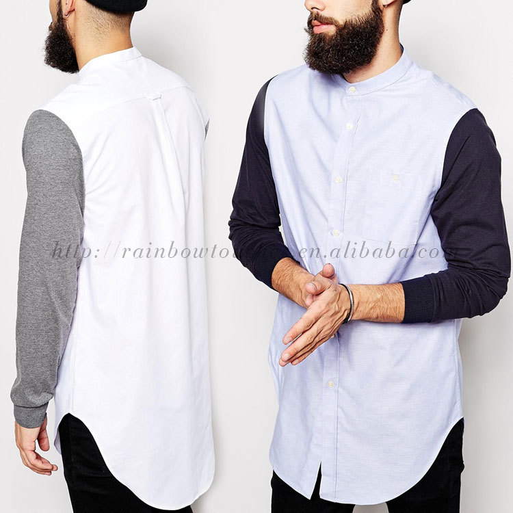 Round Hem High Quality Shirt Design Long Line T Shirt Men