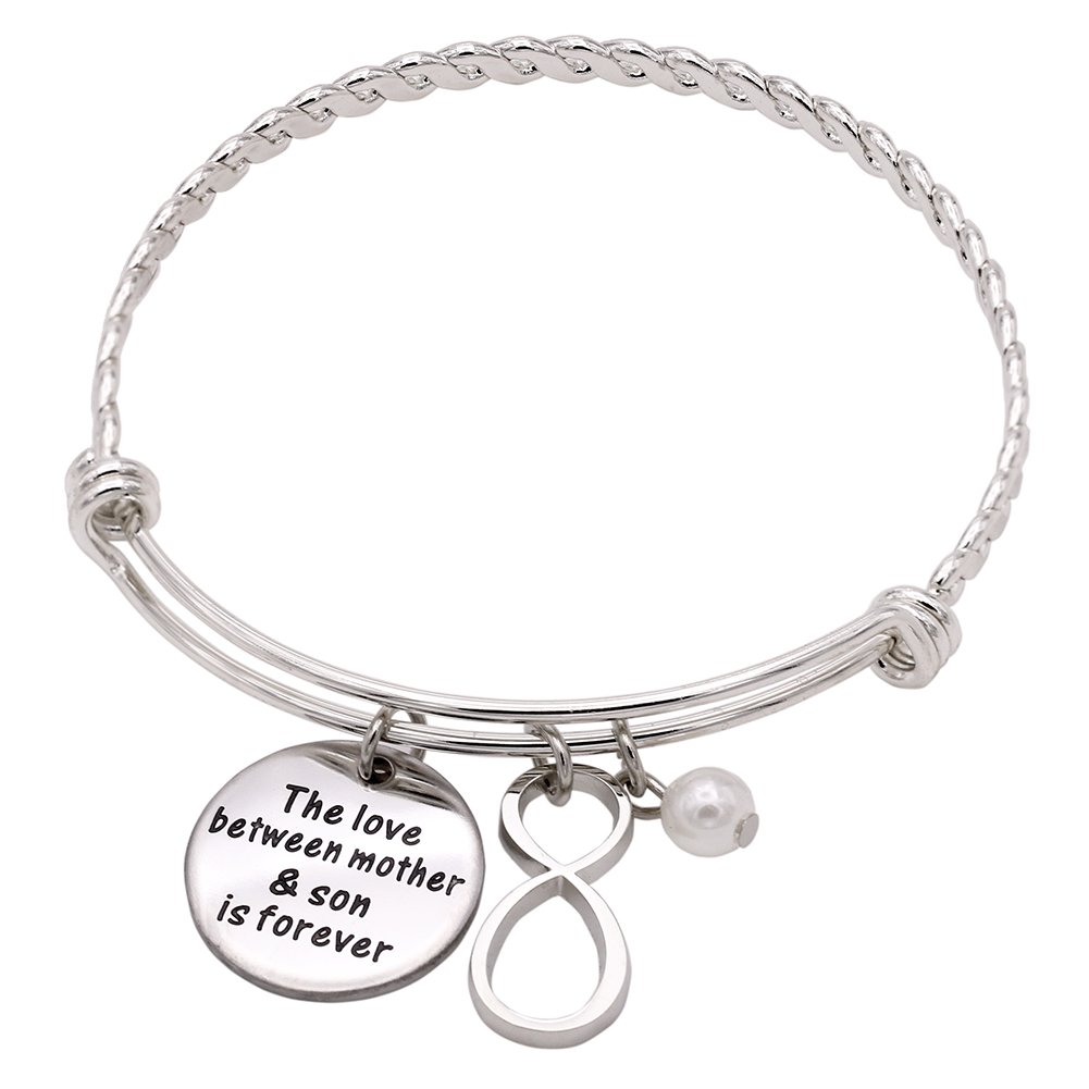 Melix Stainless Steel Mother Son / Daughter Bangle Bracelet Adjustable , Gift For Mom From Son / Daughter