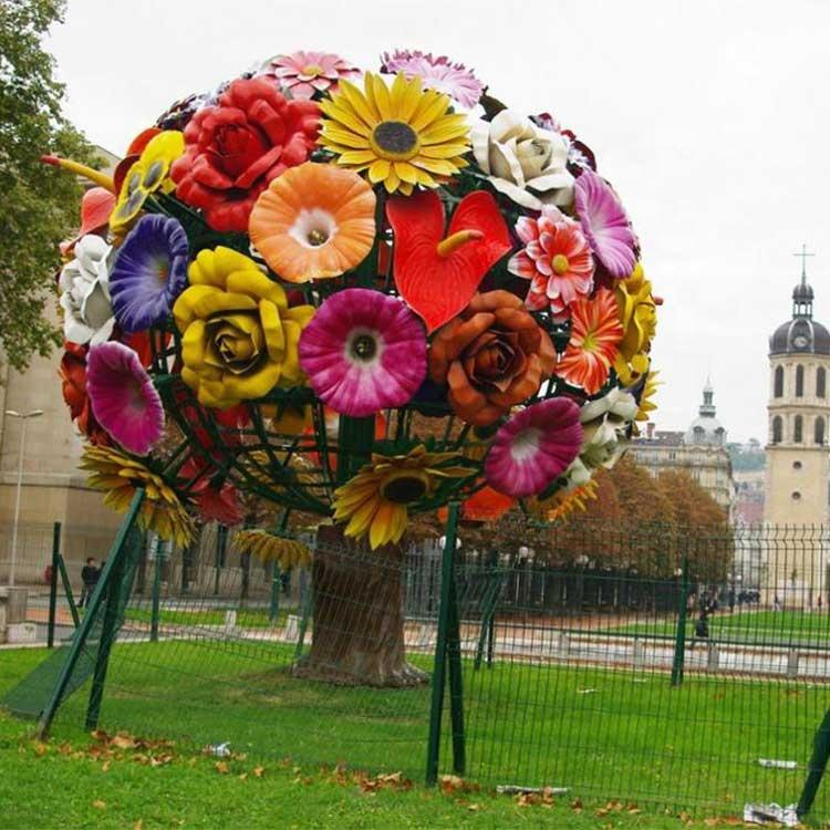 Outdoor garden metal urban modern red flower tree sculpture