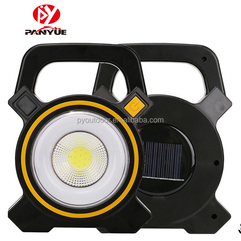 2018 Amazon New Solar COB Portable Work Light 15W Rechargeable Solar Camping Hiking Tents Light 2 Mode Emergency Spotlight Lamp
