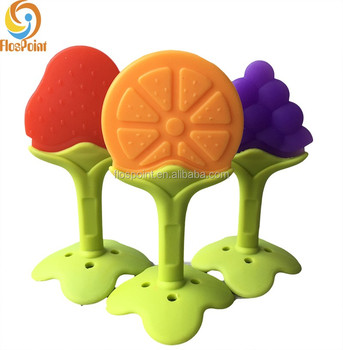 100% Silicone Rubber Fruit Shapes Teething Rings Grapes-Strawberry-Orange 9e180ac06