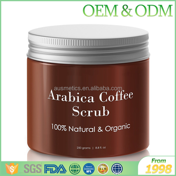 OEM private label 100% Natual Moisturizing Arabica Coffee Sugar Body Scrub