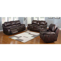 Style single couch 2 person brown leather recliner seats