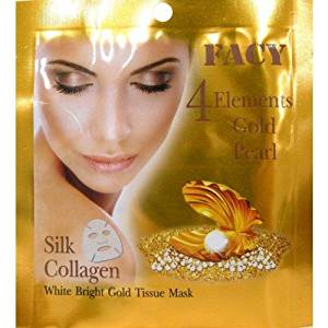 Beauty Set : 2 Units of Facy : 4 Elements Gold Pearl Silk Collagen White Bright Gold Tissue Mask Beauty Product of Thailand [Free Facial Hair Epicare Spring A1Remover]