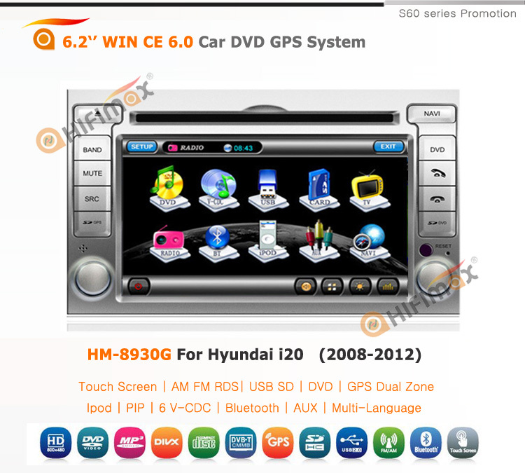 HIFIMAX cheap price promotion touch screen car dvd player for hyundai i20 car radio car multimedia player for hyundai i20
