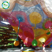 Kids Indoor Amusement Park Knitted Rainbow Colorful Nylon Crocheted Climbing Net