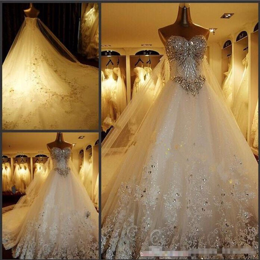 Luxury A Line Shiny Wedding Dresses 2016 Vintage Cathedral Train Lace Appliques Long Sleeve Vestido De Noiva Wedding Gowns