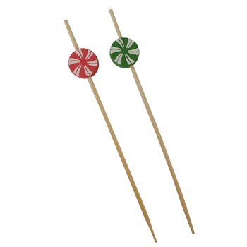 colorful round decorative bamboo candy bead picks for kids